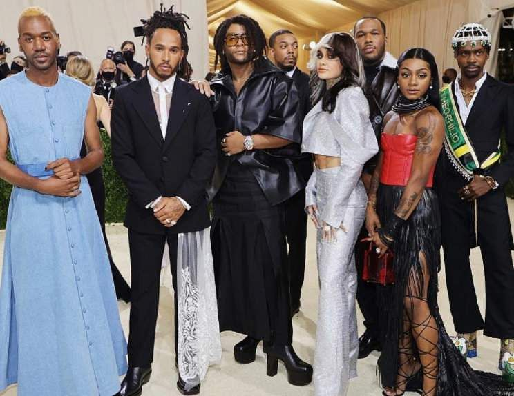 Lewis Hamilton with fashion designers at the Met Gala