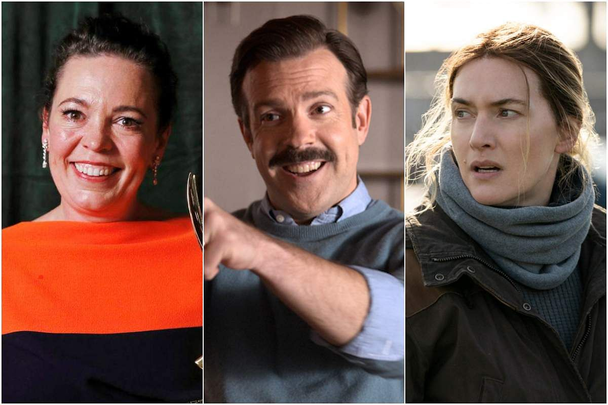 Emmy Awards 2021: Olivia Colman from The Crown (left), Jason Sudeikis from Ted Lasso (centre), and Kate Winslet from Mare of Easttown (right)