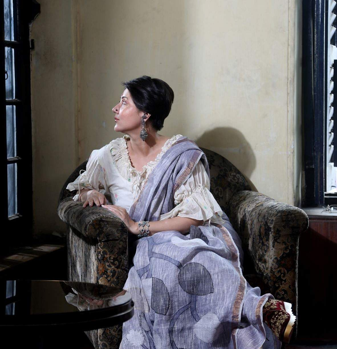 Actor Swastika in a sari from Nextiles